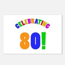 Rainbow 80th Birthday Party Postcards (Package of