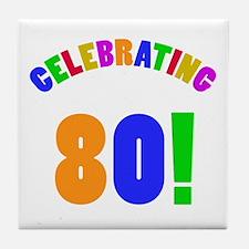 Rainbow 80th Birthday Party Tile Coaster