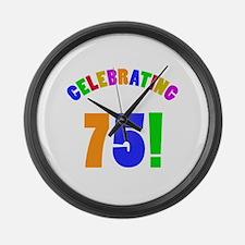 Rainbow 75th Birthday Party Large Wall Clock