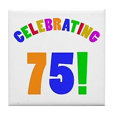 Rainbow 75th Birthday Party Tile Coaster