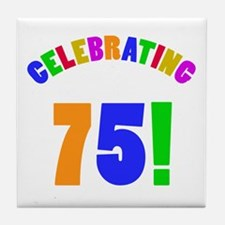 Rainbow 75th Birthday Party Tile Coaster