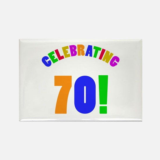 Rainbow 70th Birthday Party Rectangle Magnet