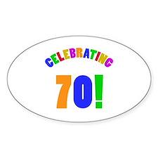 Rainbow 70th Birthday Party Decal