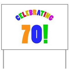 Rainbow 70th Birthday Party Yard Sign