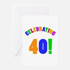 Rainbow 40th Birthday Party Greeting Card