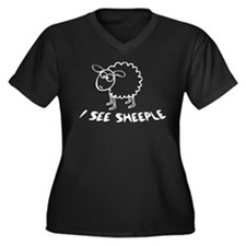 I See Sheeple Women's Plus Size V-Neck Dark T-Shir
