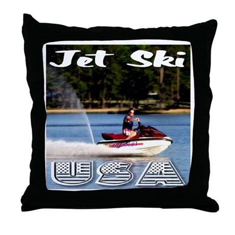 Jet Ski USA Throw Pillow
