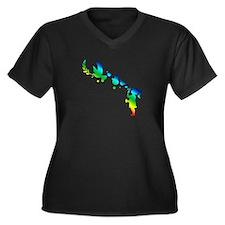 Peace Bubbles Women's Plus Size V-Neck Dark T-Shir