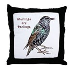 Starlings Are Darlings Throw Pillow