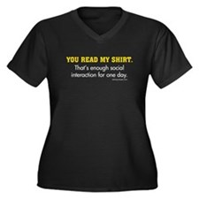 You Read My Shirt Women's Plus Size V-Neck Dark T-