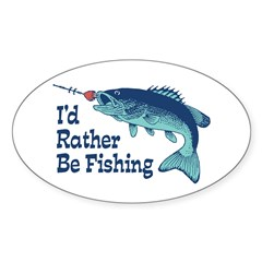 Funny Fishing Sticker (Oval)