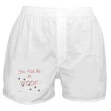 WOOF (pink) Boxer Shorts