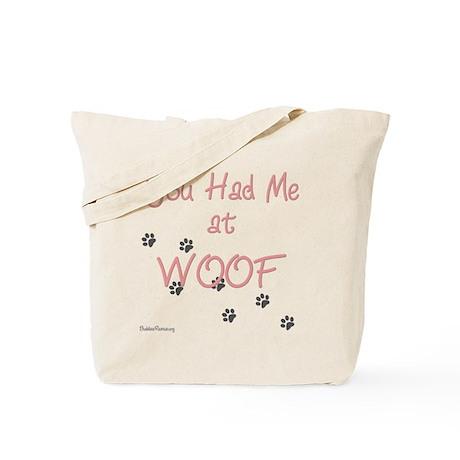 WOOF (pink) Tote Bag