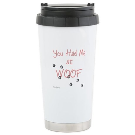 WOOF (pink) Stainless Steel Travel Mug