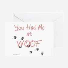 WOOF (pink) Greeting Cards (Pk of 20)