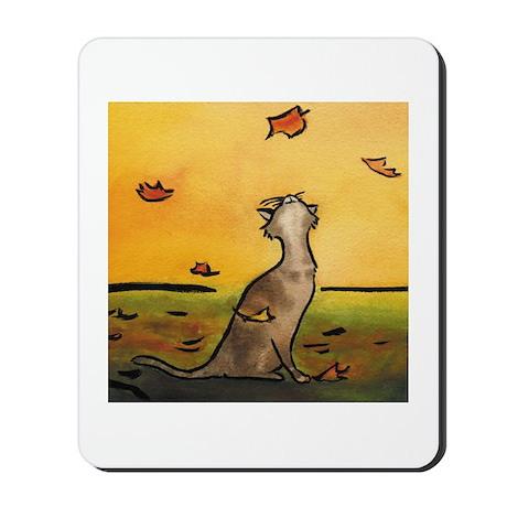 Falling Leaf Cat Mousepad