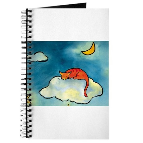 sleeping cloud cat with moon Journal