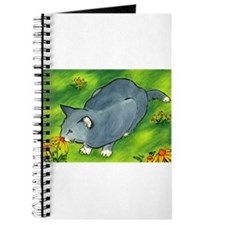 gray cat and flowers Journal