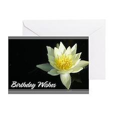White Lotusflower Birthday Card 5x7
