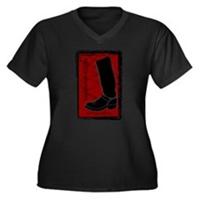 Boot Black Women's Plus Size V-Neck Dark T-Shirt