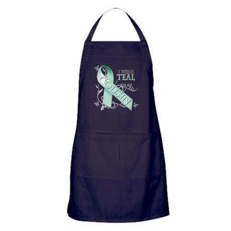 I Wear Teal for my Cousin Apron (dark)