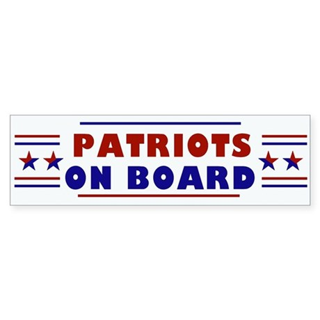 Patriots On Board Sticker (Bumper) White