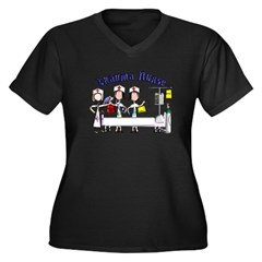 ER/Trauma Women's Plus Size V-Neck Dark T-Shirt