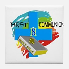 First Communion Tile Coaster