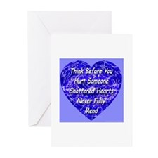Shattered Heart Blue Boy Greeting Cards (Package o