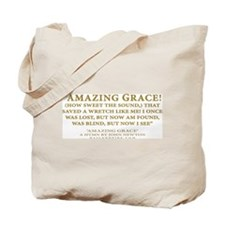 Amazing Grace - hymn lyrics (Tote Bag)