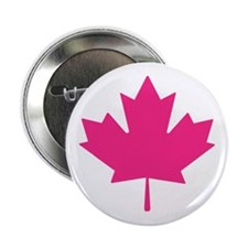 "Pink Maple Leaf 2.25"" Button"