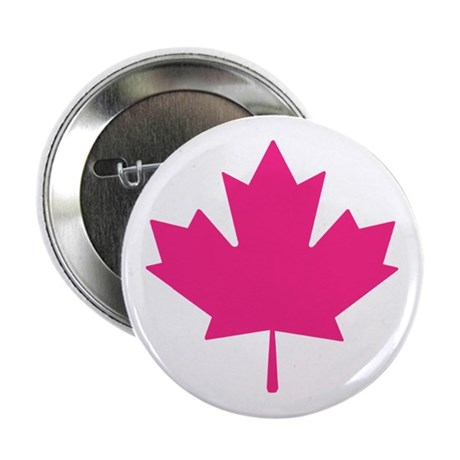 """Pink Maple Leaf 2.25"""" Button (100 pack)"""