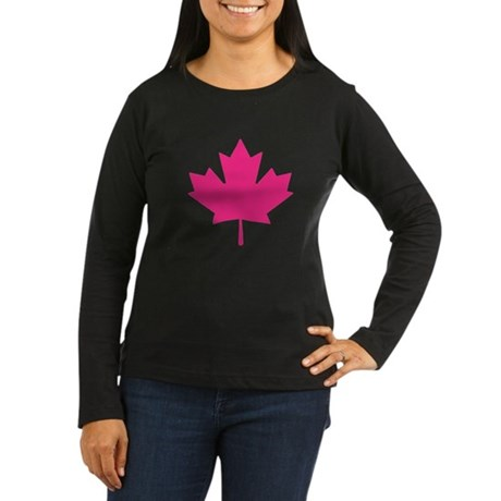 Pink Maple Leaf Women's Long Sleeve Dark T-Shirt