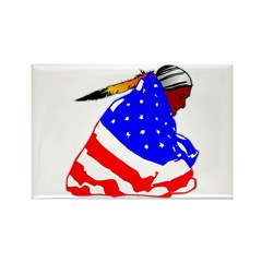 Wrapped In American Flag Rectangle Magnet