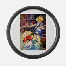 ALICE GOES DOWN THE RABBIT HOLE Large Wall Clock