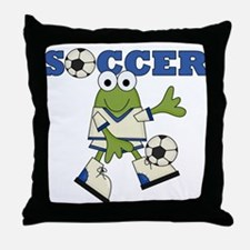 Frog Soccer Throw Pillow