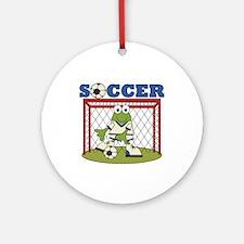 Frog Soccer Goalie Ornament (Round)