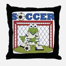 Frog Soccer Goalie Throw Pillow