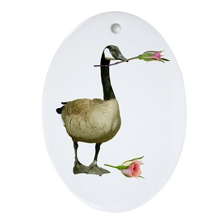 Canada Goose With Rose Ornament (Oval)
