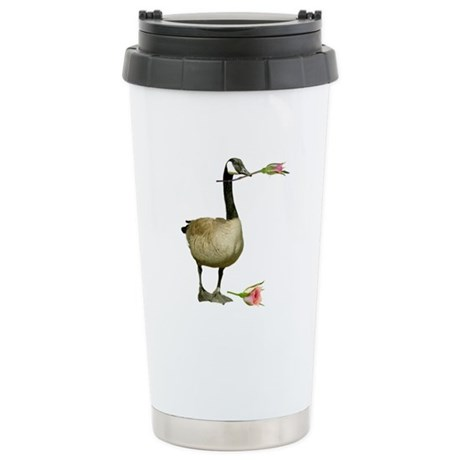 Canada Goose With Rose Stainless Steel Travel Mug