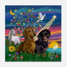 Magical Night/Two Dachshunds Tile Coaster
