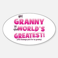 World's Greatest Granny (pink) Sticker (Oval)