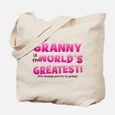 World's Greatest Granny (pink) Tote Bag