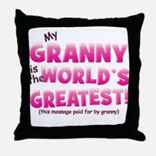 World's Greatest Granny (pink) Throw Pillow
