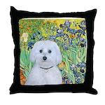 Irises / Maltaese (B) Throw Pillow