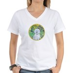 Irises / Maltaese (B) Women's V-Neck T-Shirt
