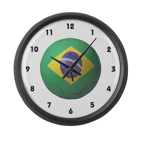 Brazil Soccer Large Wall Clock