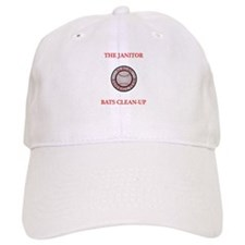 The Janitor Bats Clean-Up Baseball Baseball Cap