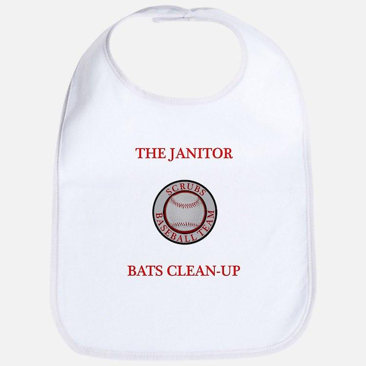 The Janitor Bats Clean-Up Bib