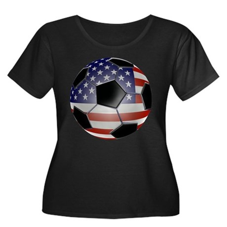 US Flag Soccer Ball Women's Plus Size Scoop Neck D